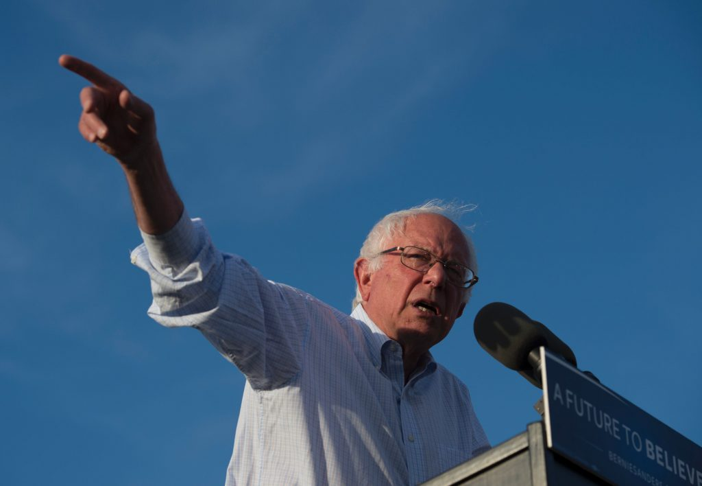 Democratic Presidential Candidate Bernie Sanders speaks during A Future to Believe In rally on June 9, 2016, in Washington, DC. / AFP PHOTO / MOLLY RILEYMOLLY RILEY/AFP/Getty Images